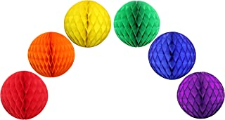 product image for Set of 6 Classic Rainbow 8 Inch Honeycomb Ball Decorations (Red, Orange, Yellow, Green, Blue, Purple)