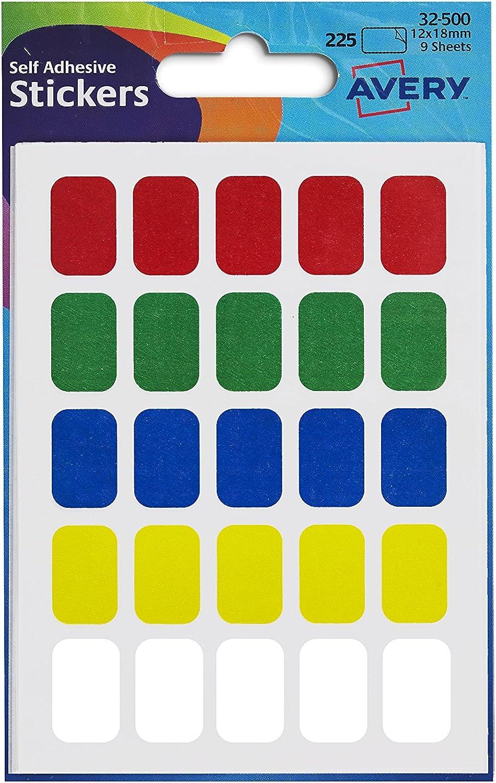 Avery UK 12 x 18 mm etichette rettangolari 24x50 mm multicolore
