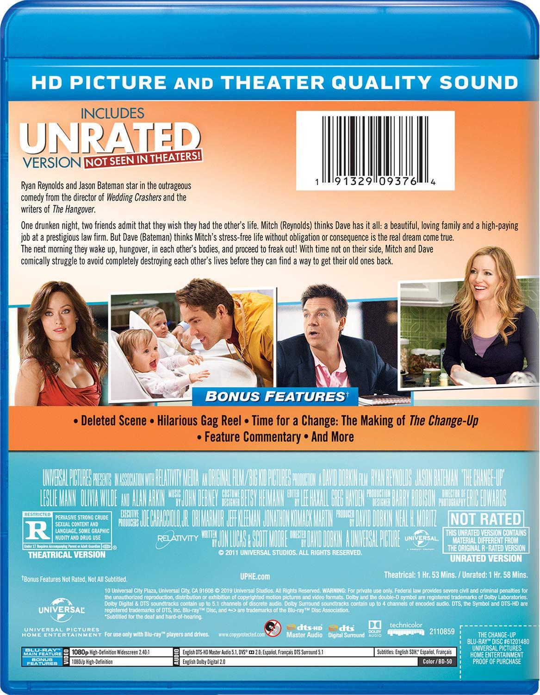 Amazon Com The Change Up Blu Ray Ryan Reynolds Jason Bateman Leslie Mann Olivia Wilde Craig Bierko Alan Arkin David Dobkin Neal H Moritz
