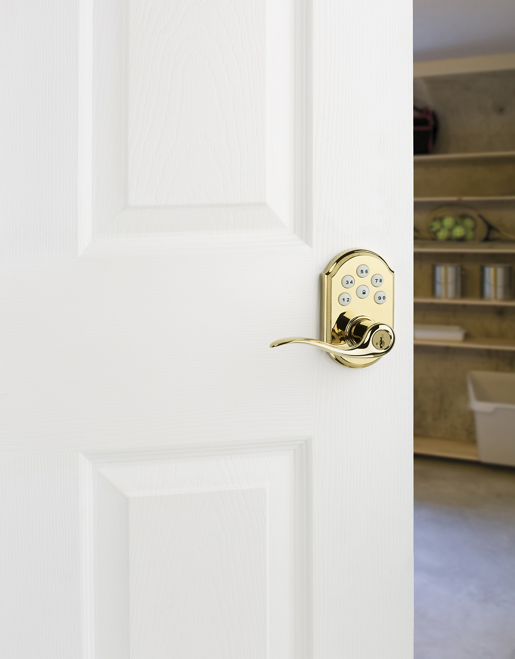 Kwikset 912 Z-Wave SmartCode Electronic Touchpad with Tustin Lever, Works with Amazon Alexa via SmartThings, Wink, or Iris featuring SmartKey in Polished Brass