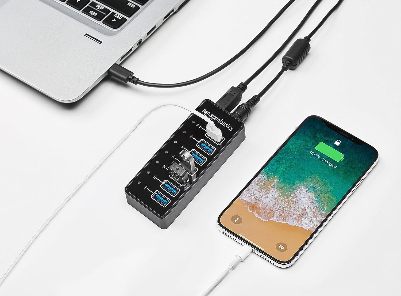 AmazonBasics - Hub de 7 puertos USB C 3.1 con adaptador de corriente, 36 W (12 V/3 A), Negro, EU: Amazon.es: Informática