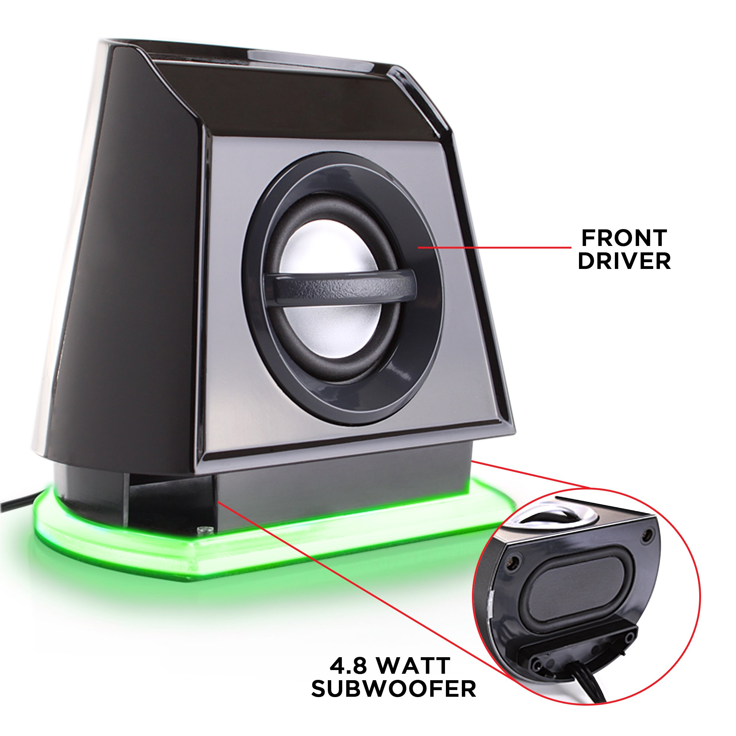 GOgroove 2MX LED Computer Speakers with Powered Subwoofer, Green Glowing Lights and Stereo Sound - Wired 3.5mm Audio Input Connection, USB Powered for PC, Desktop and Laptop Computers by GOgroove (Image #4)