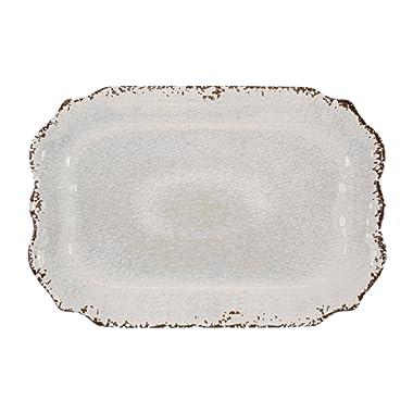 Gourmet Art Crackle Melamine 20 Inch Rectangle Tray, Cream