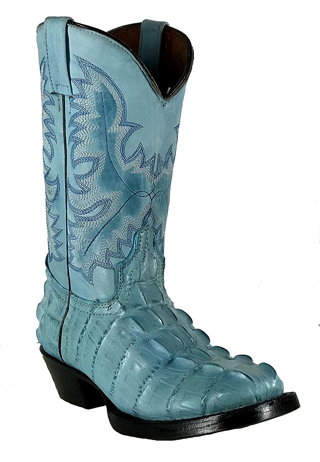 Women's New Leather Crocodile Design Western Cowgirl Biker Boots Square Blue B076MRSJDX 6 B(M) US