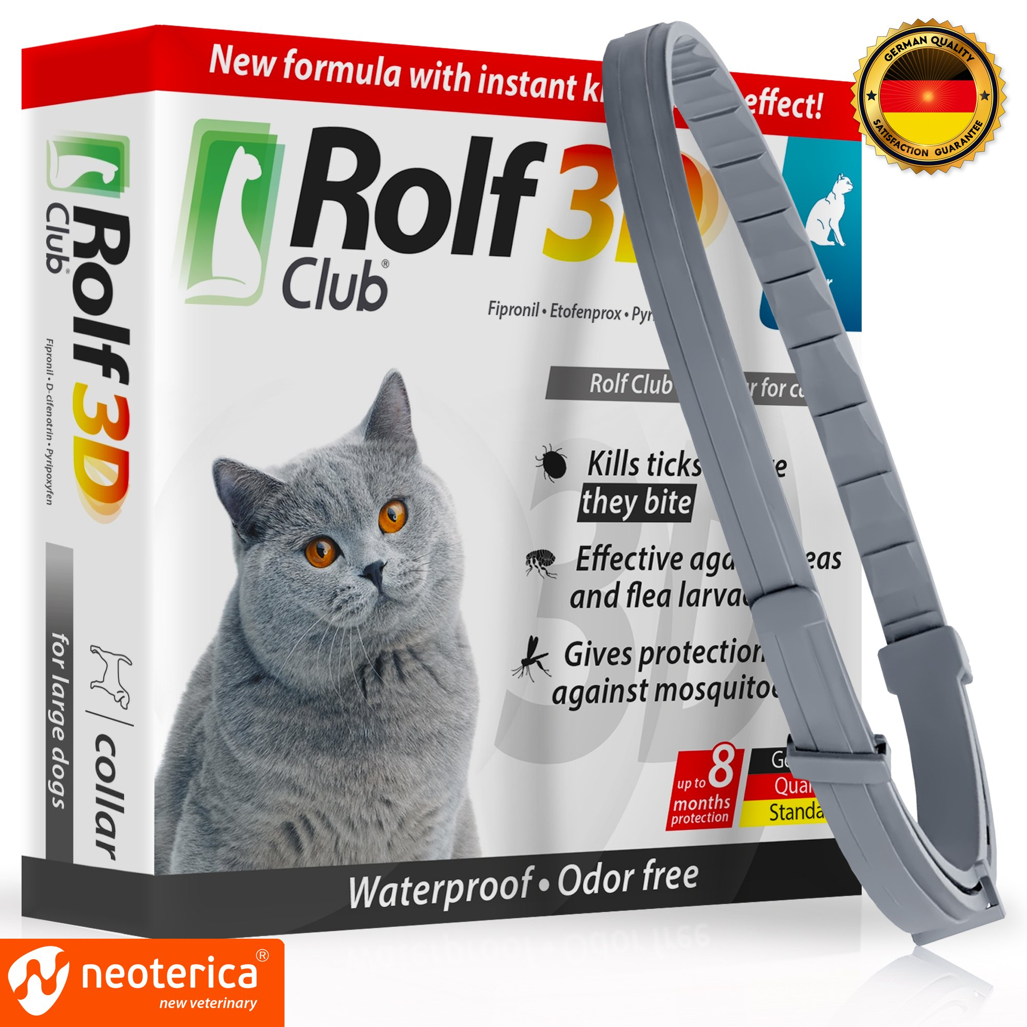 Rolf Club 3D FLEA Collar for Cats - Flea and Tick Prevention for Cats - Cats Flea and Tick Control for 8 Months - SAFE Tick Repellent - WATERPROOF Tick Treatment (for Cats)