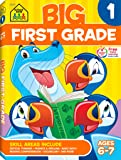 School Zone - Big First Grade Workbook - Ages 6-7, Basic Math, Addition & Subtraction, Telling Time, Reading, and Phonics