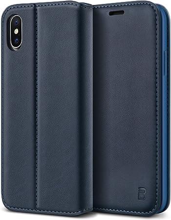 BEZ® Cover iPhone X, Cover iPhone XS, PU Custodia Compatibile per iPhone X, iPhone XS, Protettiva Portafoglio Flip Cover con Kickstand Fuction, Blu ...
