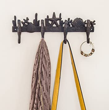 Cast Iron Wall Hanger | Sea Horses, Stars and Shells with 4 Hooks | Wall