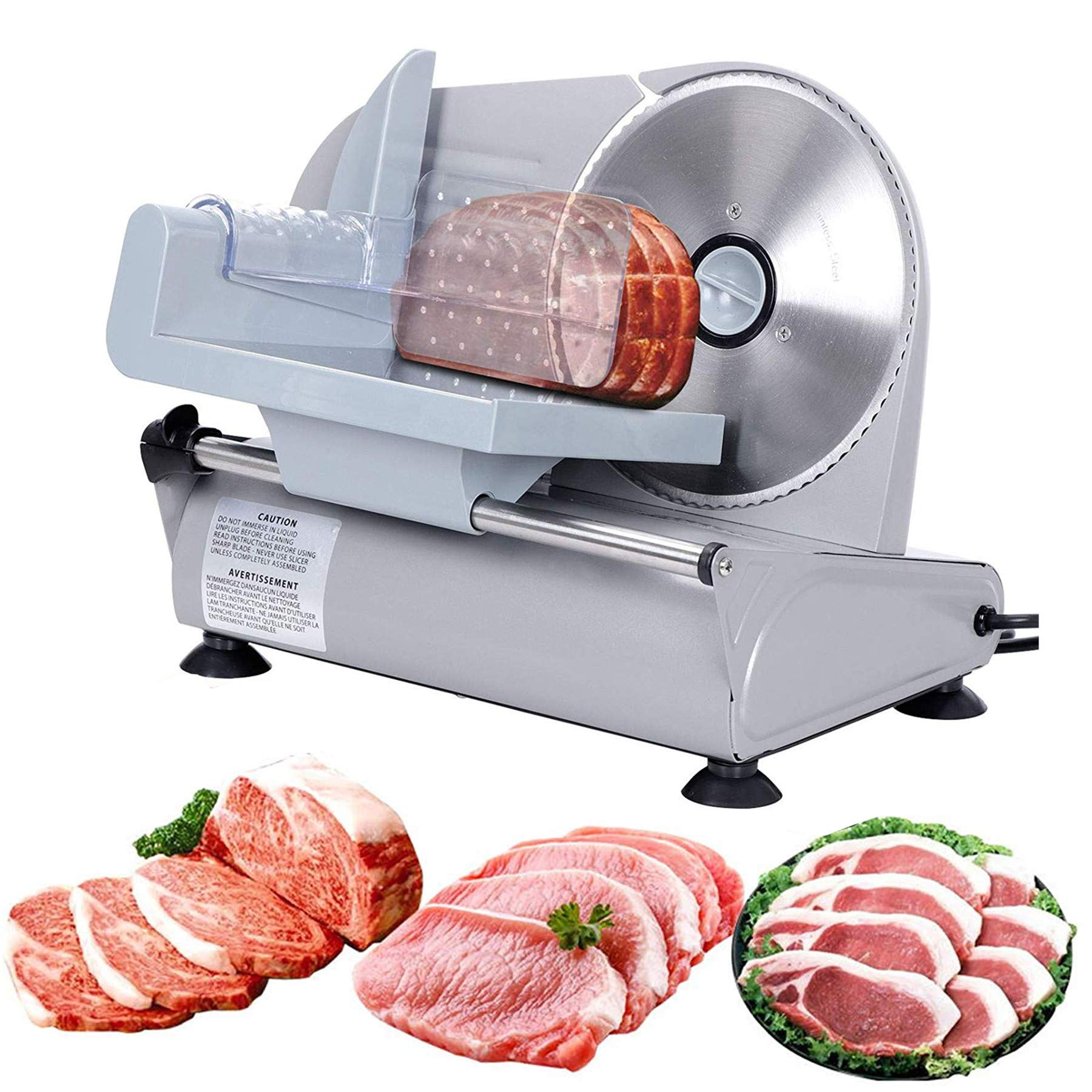 F2C 7.5'' Electric Food Meat Slicer| Bacon Bread Fruit Vegetable Veggies Meat Deli Ham Food Cheese Slicer| Stainless Steel Serrated Blade| 150W Food Meat Shredder Cutter Slicer Home Commercial Kitchen Pro by F2C