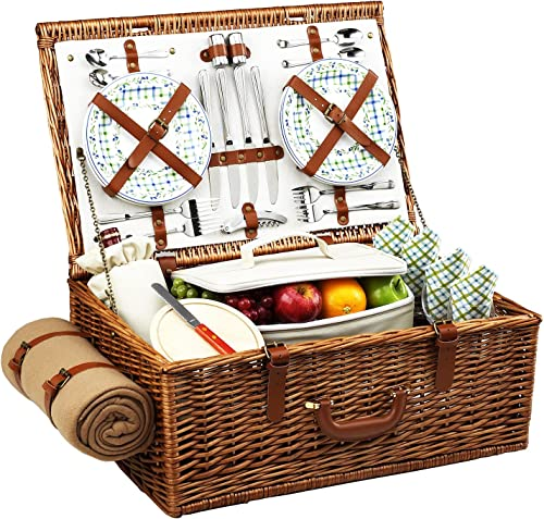 Picnic at Ascot Original Dorset English-Style Willow Picnic Basket with Service for 4 and Blanket- Designed, Assembled Quality Approved in the USA