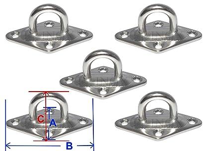 Pontet sur platine Losange 37x59mm (lot de 5)  inox 316 ...