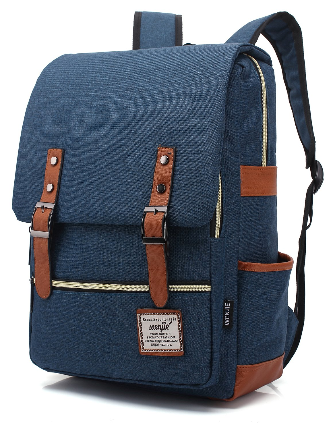 Mn&Sue British Style Casual Unisex Waterproof Oxford School Backpack Rucksack (Dark Blue)