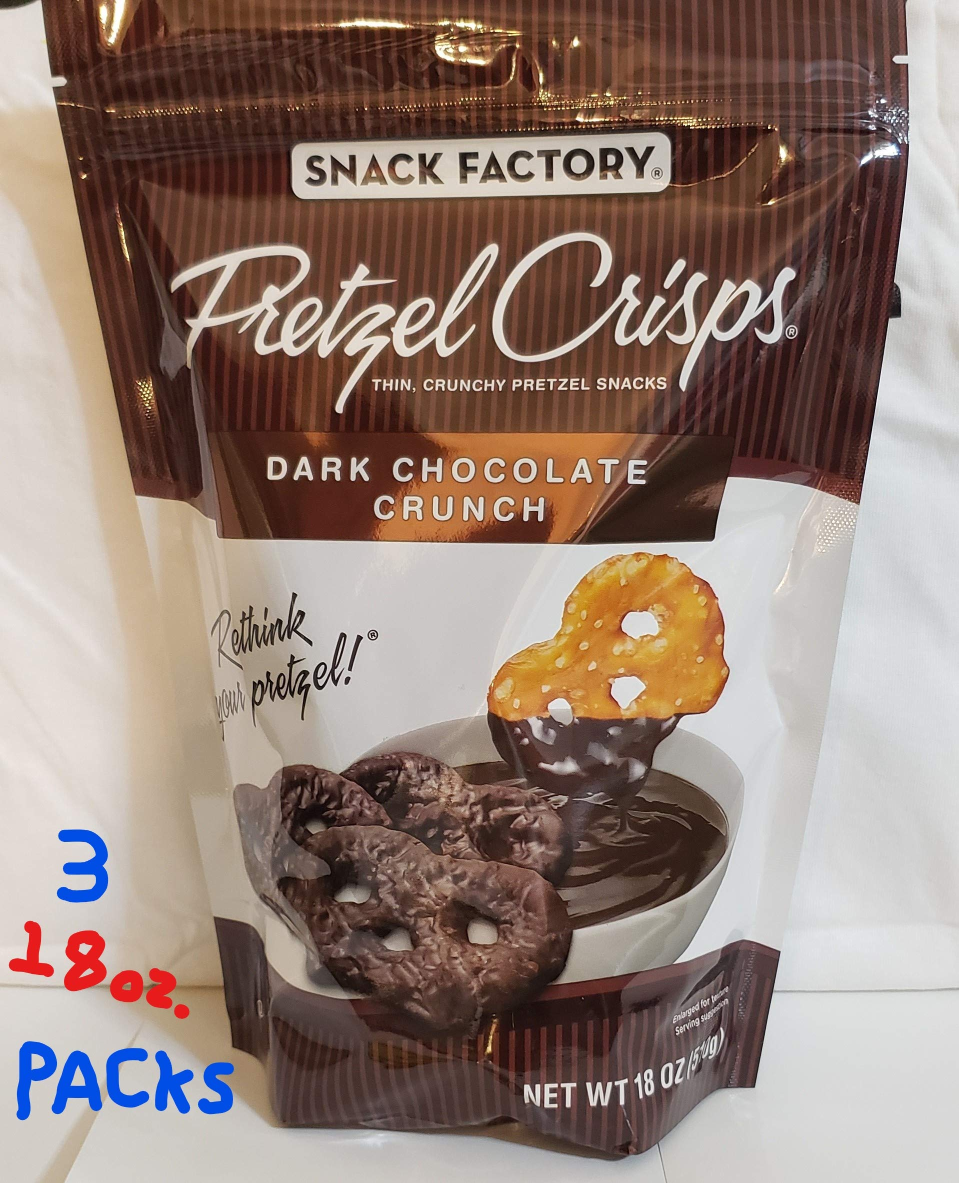 Snack Factory Pretzel Crisps, Dark Chocolate Crunch, 22 Oz. (Pack of 2) by Snack Factory Pretzel Crisps