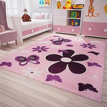Kinderzimmer Teppich Modern Pink Lila Flauschig Blumen Schmetterlinge  Konturenschnitt Geprüft von 60x110 cm