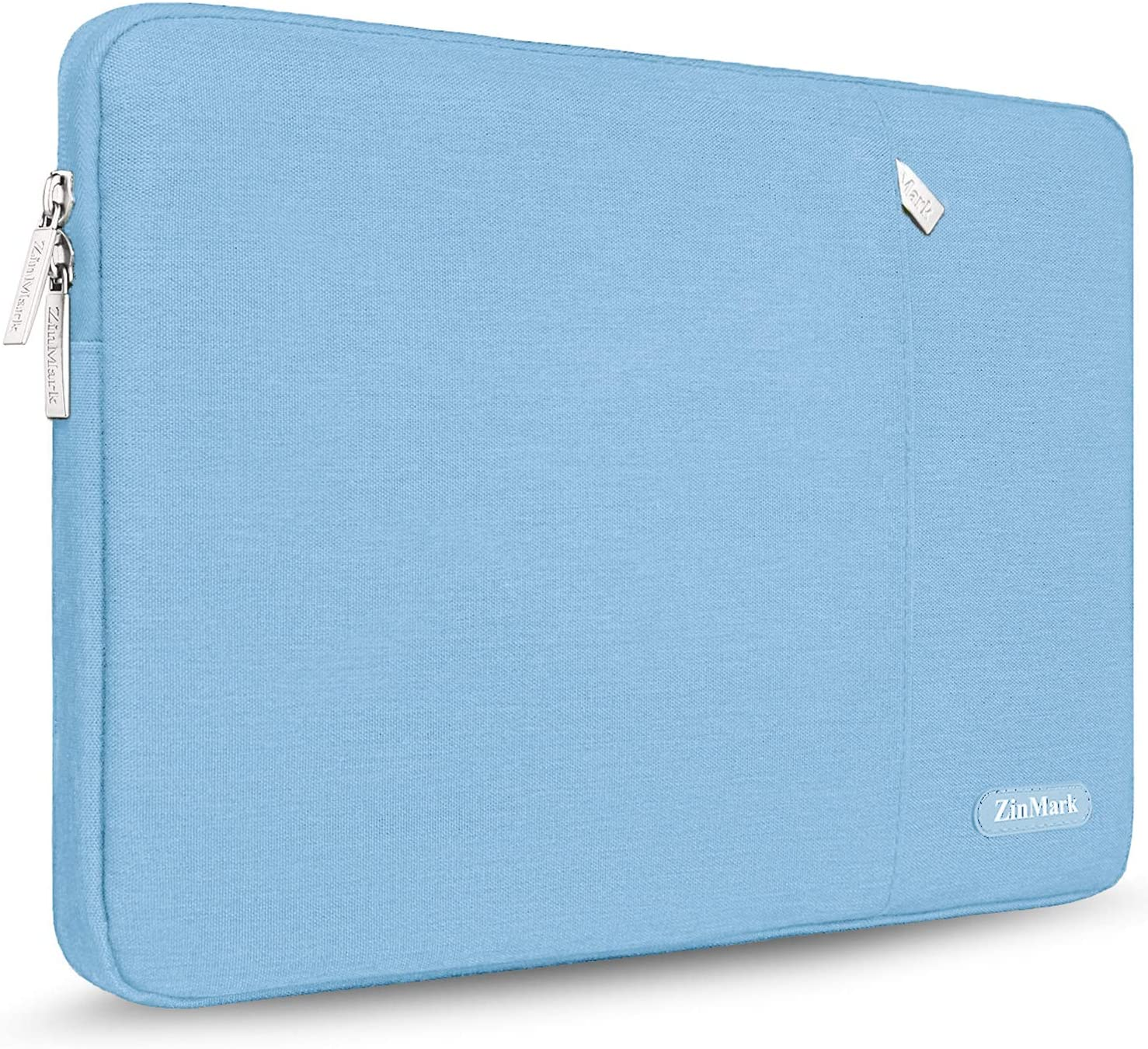 ZinMark Laptop Sleeve 13 Inch Compatible 2019 2018 MacBook Air 13 Inch Retina A1932, 13 Inch MacBook Pro A2159 A1989 A1706 A1708 | XPS 13, Water-Resistant Polyester Notebook Case, Light Blue