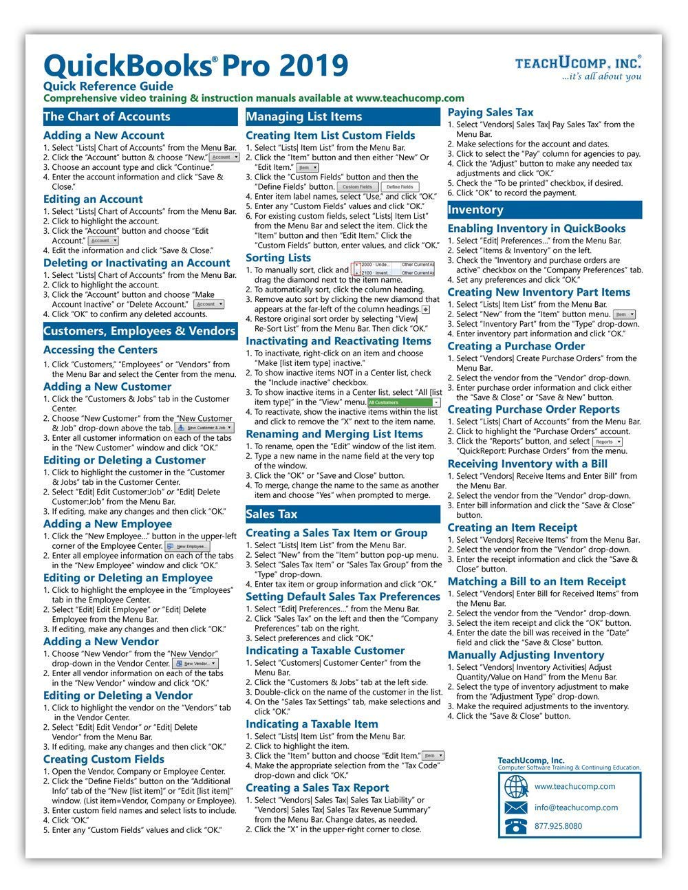 QuickBooks Pro 2019 Quick Reference Training Card
