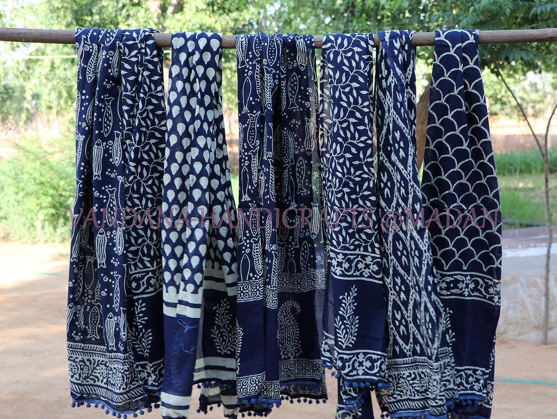 Sarong 5pc Lot Indigo Hand Block Printed Super Soft Cotton Mul Mul Scarves Head Wrap Hair Wrap Women Wear Cotton Scarves Wrap