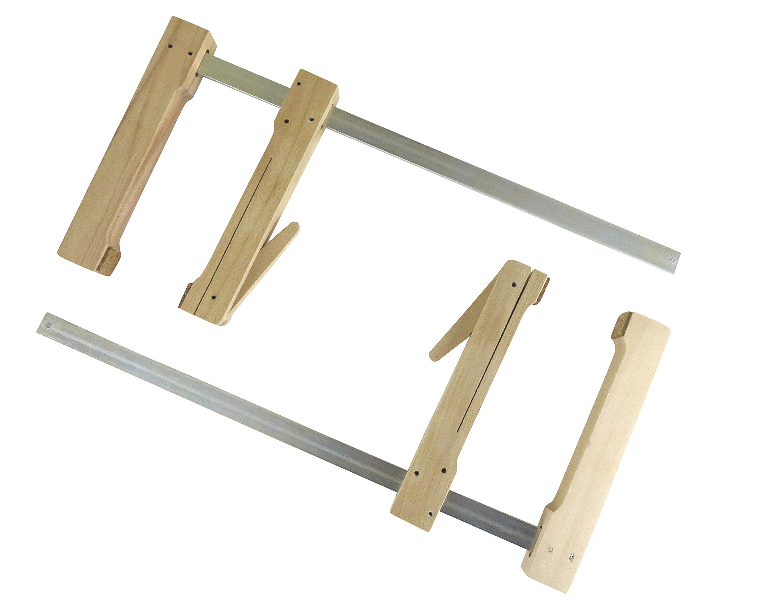 "2 each Pair Taytools 31-400 Wooden Wood Cam Action Clamps Deep Reach 15-1/2"" Opening by 7-1/2"" Depth European Beech"