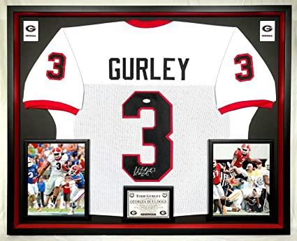 e280980d7 Image Unavailable. Image not available for. Color  Deluxe Framed Todd  Gurley Autographed Signed Georgia Bulldogs Jersey Memorabilia - JSA  Authentic