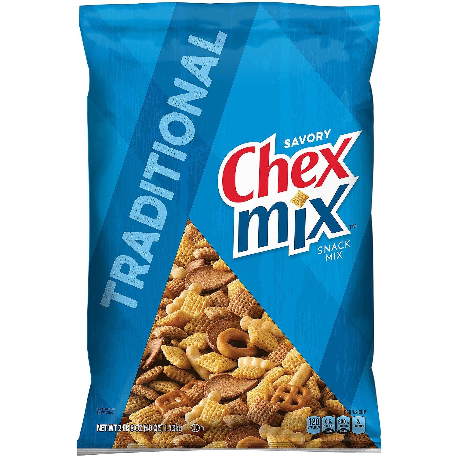 Chex Mix Traditional Snack Mix, Original, 40 Ounce (Pack of 3)