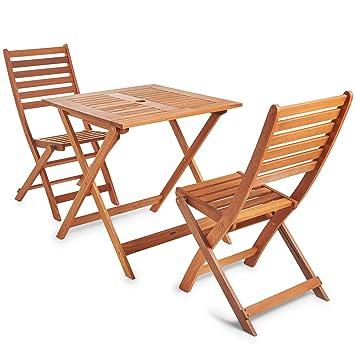 vonhaus set table et 2 chaises de jardin patio meuble en bois 70 x 70