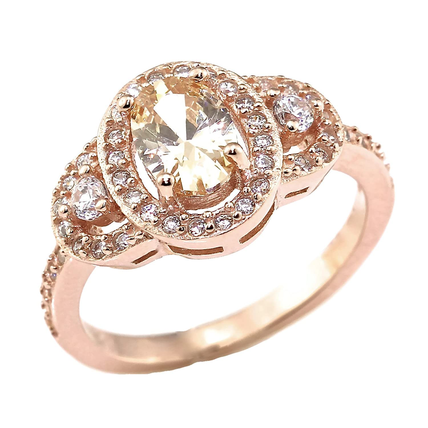 Amazon Oval Simulated Peach Morganite and CZ Rose Gold Over