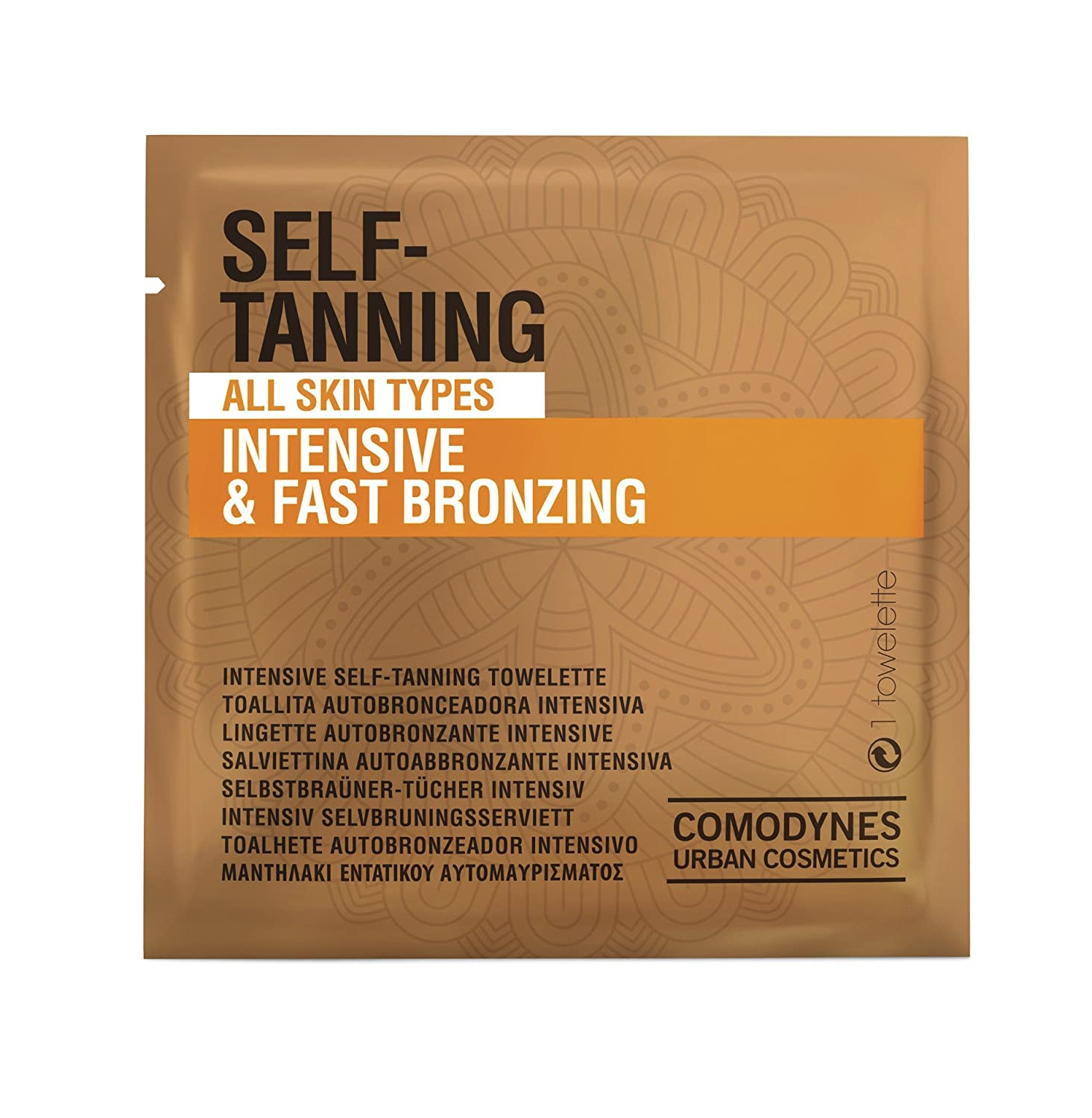 Comodynes Self-Tanning Intensive and Uniform Color Towels for Face and Body - Intensive and Fast Bronzing - All Skin Types - Individually Wrapped Towelettes - 24 Packs