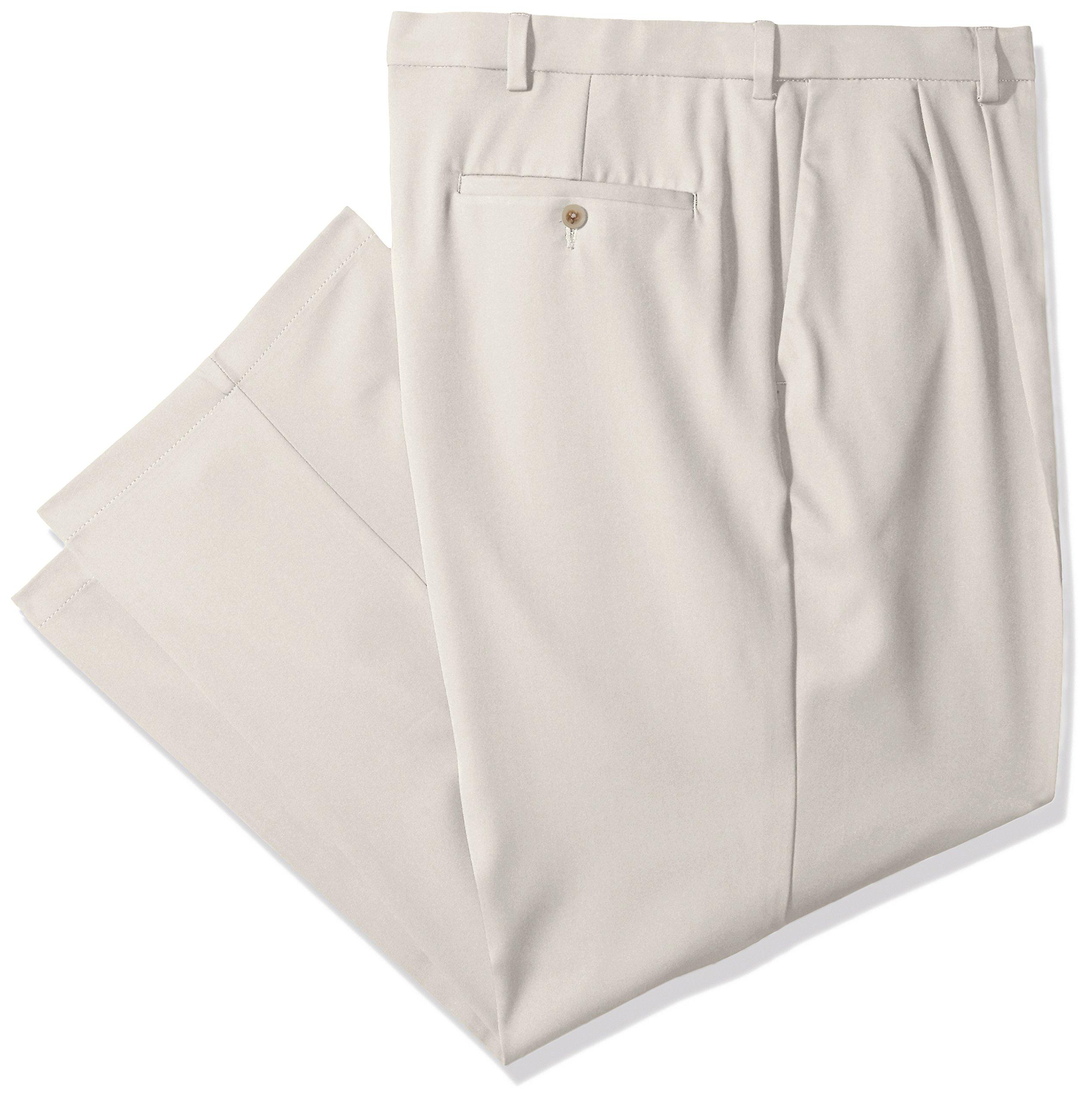 Haggar Men's Cool 18 Pro Classic Fit Pleat Front Expandable Waist Pant, String, 46Wx30L
