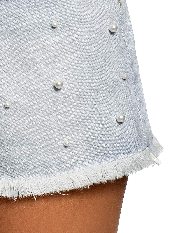 oodji Ultra Donna Shorts in Jeans con Perline di Vetro