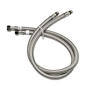 "Decor Star VSF38-27 3/8"" OD 6 mm ID Vessel Sink Faucet Stainless Steel Flexible Water Supply Hoses 27"" Long, UPC, cUPC x 2 (1 Pair)"
