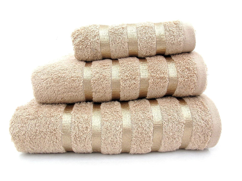 100% Pure Cotton Luxury Savoy Stripe Beige / Latte Hand Towel - 550gsm, 50x85cms 5029497416489