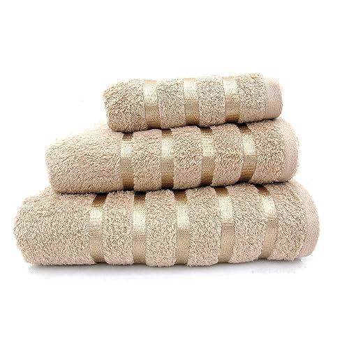 100% Pure Cotton Luxury Savoy Stripe Beige / Latte Hand Towel - 550gsm, 50x85cms