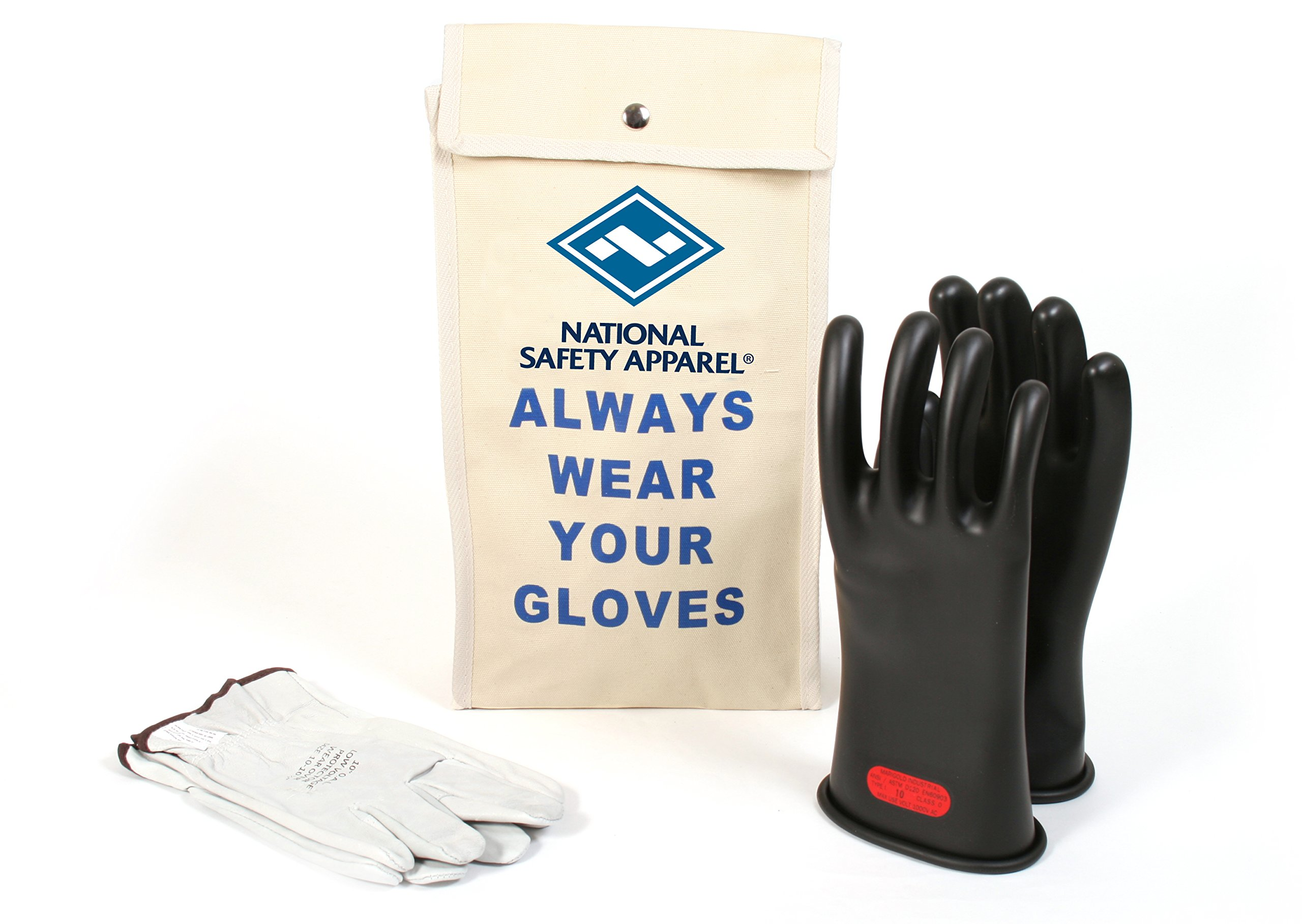 National Safety Apparel Class 0 Black Rubber Voltage Insulating Glove Kit with Leather Protectors, Max. Use Voltage 1,000V AC/ 1,500V DC (KITGC010)