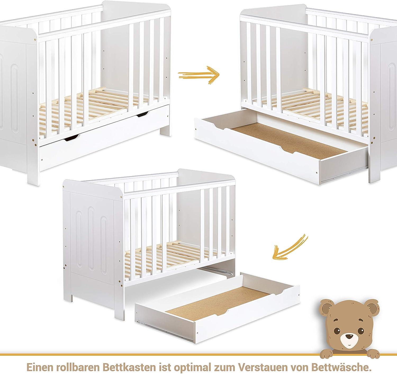 Wei/ß Gitterbett Babybett 2in1 60x120 mit Schublade Schlupfsprossen und Lattenrost H/öhenverstellbar Umbaubar zum Juniorbett f/ür M/ädchen und Junge