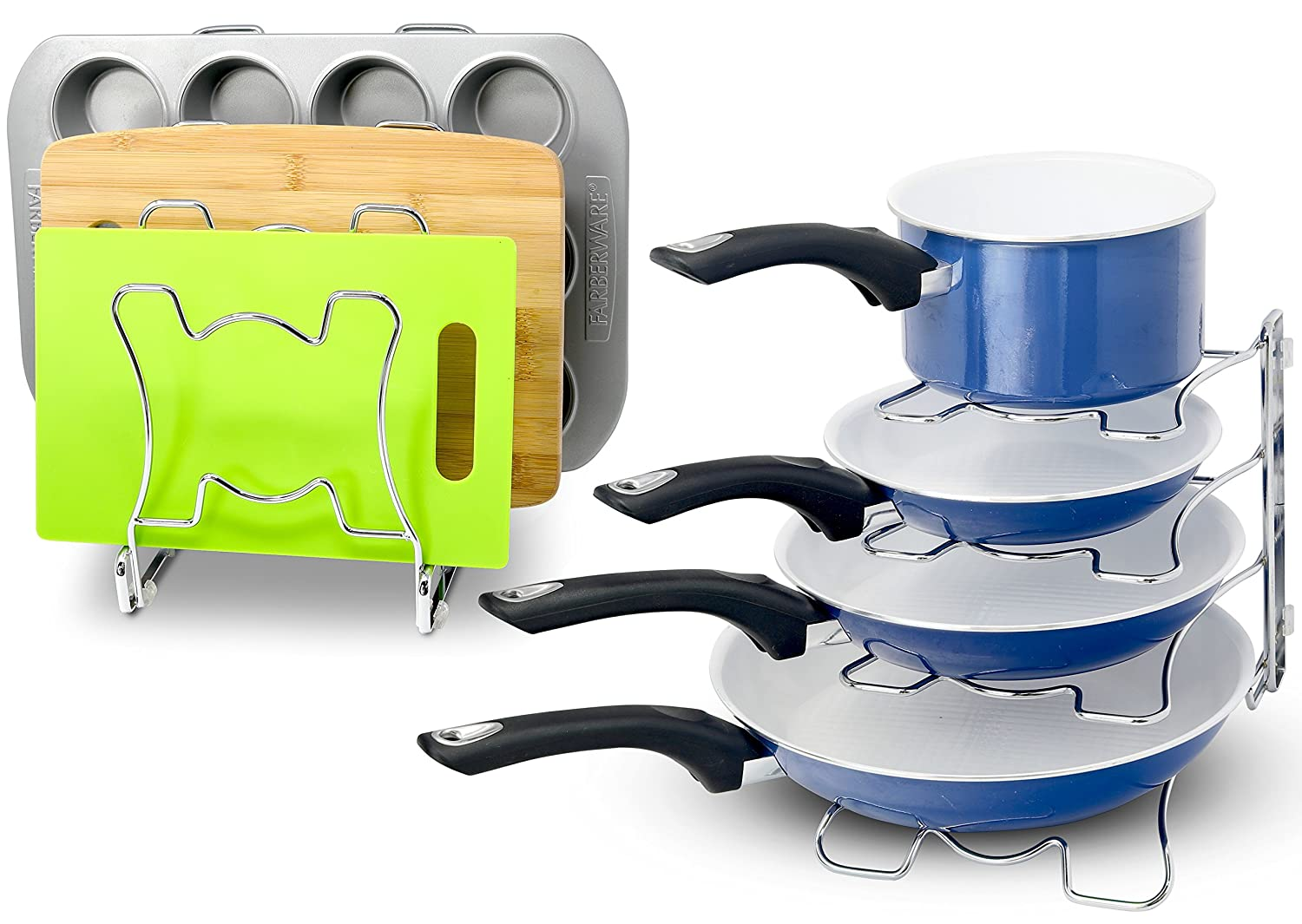SimpleHouseware Kitchen Cabinet Pan and Pot Cookware Organizer Rack Holder Chrome Simple Houseware CO-011-1 2 Pack