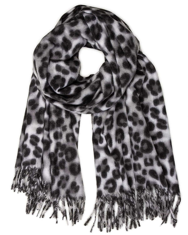 TALLA Talla única. Caspar SC501 Bufanda Suave XL para Mujer con Estampado de Leopardo