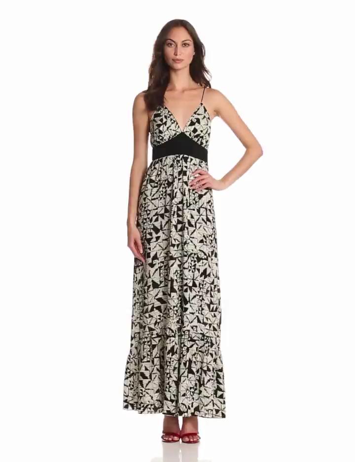 MISA Womens Cami Strap Maxi Dress