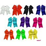 "7"" Jumbo Cheer Bow Big Hair Bows Ponytail Holder Large Classic Accessories for Teens Women Girls Softball Cheerleader Sports Elastics Ties Handmade by Kenz Laurenz (-10 pack 7"" Cheer Bow Assorted)"