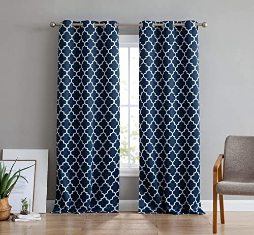 HLC.ME Lattice Print Thermal Insulated Room Darkening Blackout Grommet Window Curtain Panels