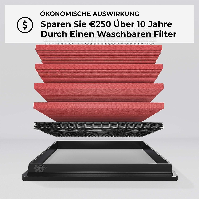 Erh/öhte Leistung RS4, RS5, A4, A5 Ersatzfilter Abwaschbar Pr/ämie 2010-2015 K/&N 33-3032 Motorluftfilter: Hochleistung
