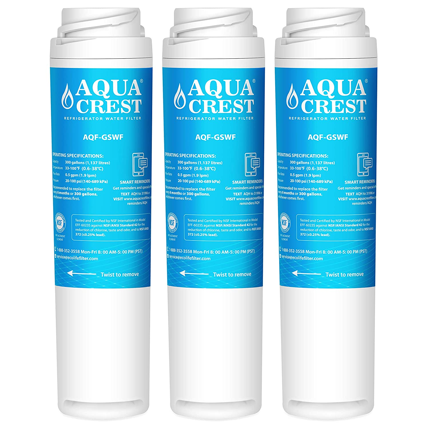 AQUACREST GSWF Replacement Refrigerator Water Filter, Compatible with GE GSWF SmartWater 238C2334P001, Kenmore 46-9914, 469914, 9914 (Pack of 3)
