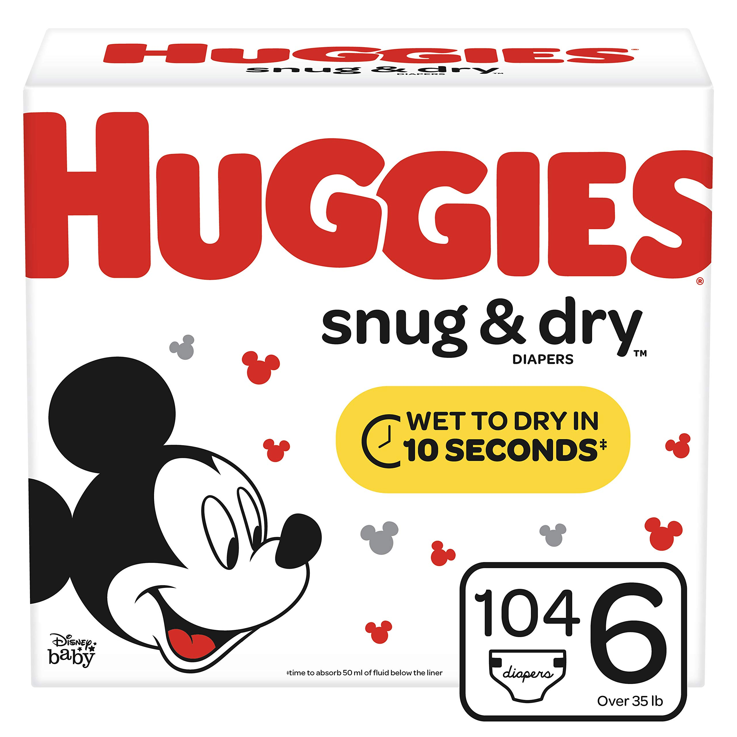 Huggies Snug & Dry Diapers, Size 6 (35+ lb.), 104 Ct, Giant Pack (Packaging May Vary) by HUGGIES