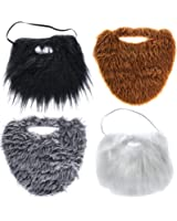 Tigerdoe Fake Beards for Adults or Kids - 4 Color Pack - Costume Accessories - Beard & Mustache by