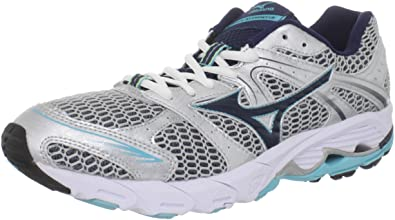 Mizuno Women's Wave Alchemy 12 Narrow (2a) Running Shoe,Silver/Dress Blue