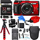 Olympus TG-5 Waterproof Camera RED with 3-Inch LCD, Red (V104190RU000), 32GB Class 10 SD Card, Gear Tripod, Camera Case and DigitalAndMore RUGGED Accessory Bundle