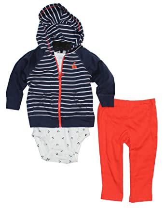 3b934896d965 Amazon.com  Carter s Baby Boys  3 Piece Striped Hoodie Set (Baby ...