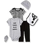Little Treasure Baby 6 Piece Clothing Set, Nap Hard 9-12 Months (12M)