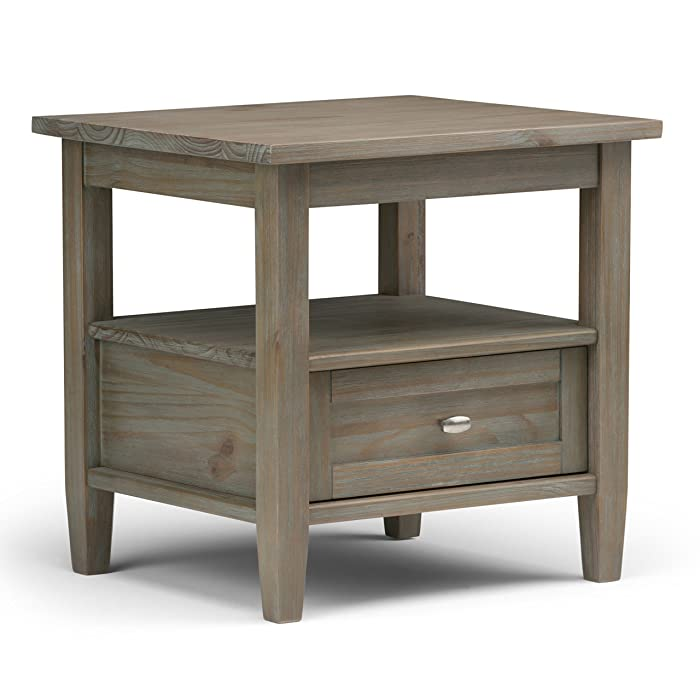 Simpli Home AXWSH002-GR Warm Shaker Solid Wood End Side Table in Distressed Grey