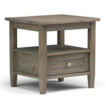 Simpli Home Warm Shaker End Side Table, Distressed Grey