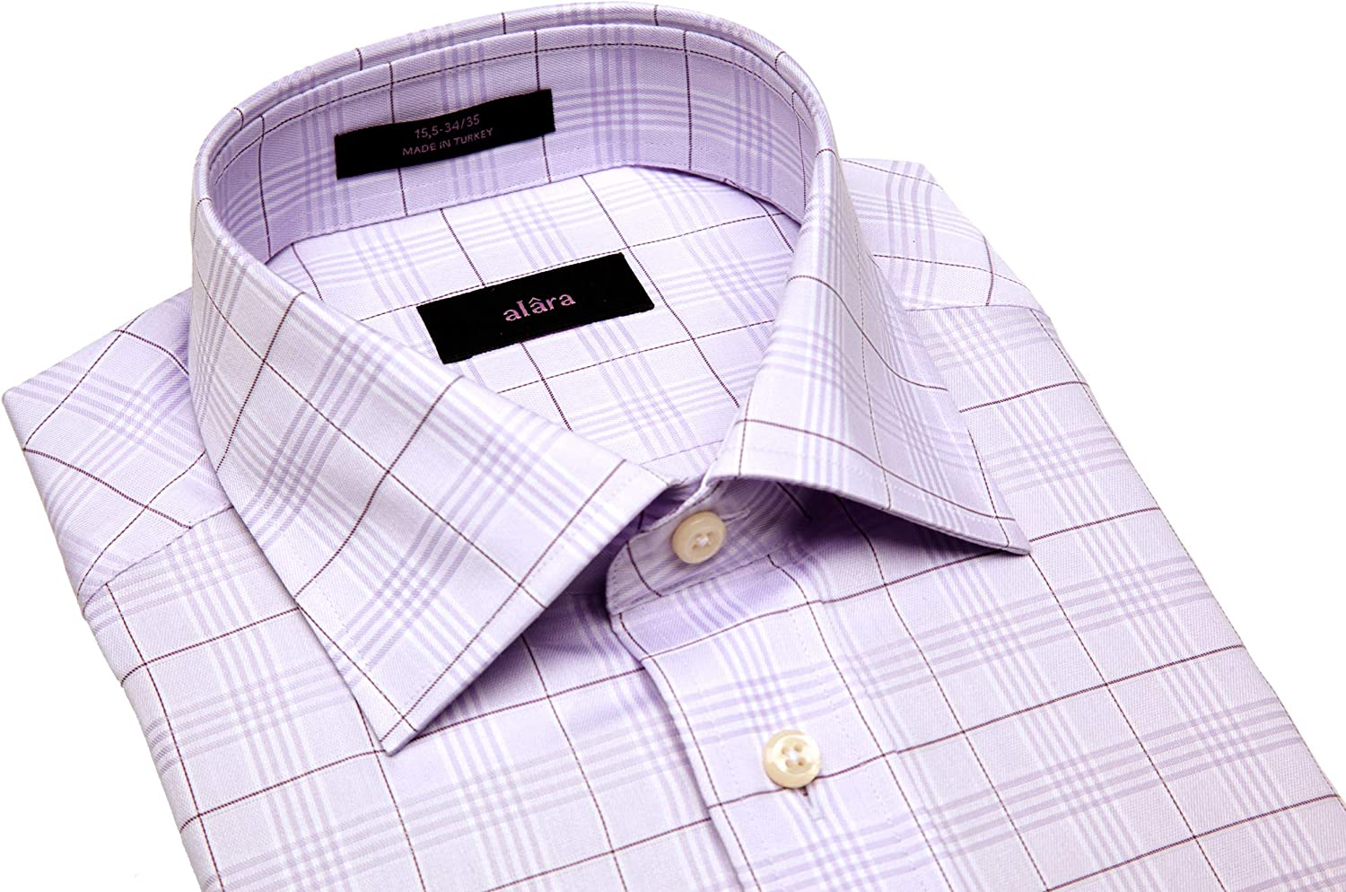 Alara Periwinkle Lux Glen Plaid Egyptian Cotton Dress Shirt with Pocket in Modern Spread Collar